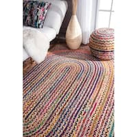 nuLOOM Casual Handmade Braided Cotton Jute Multi Oval Rug (5' x 8' Oval)