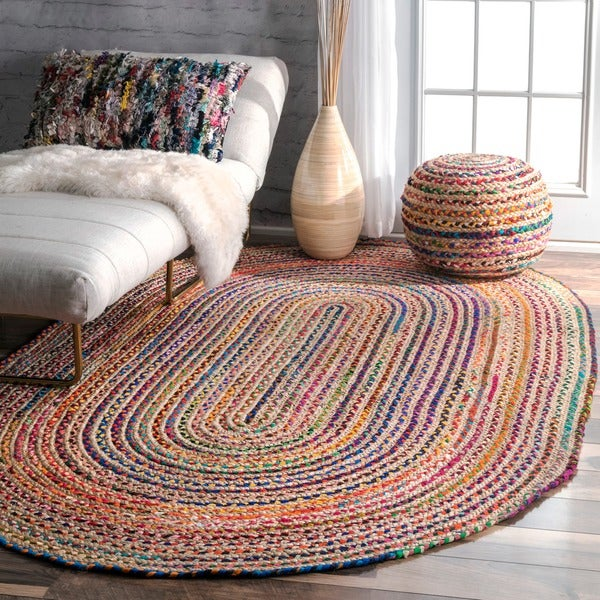 Nuloom Casual Handmade Braided Cotton Jute Multi Oval Rug