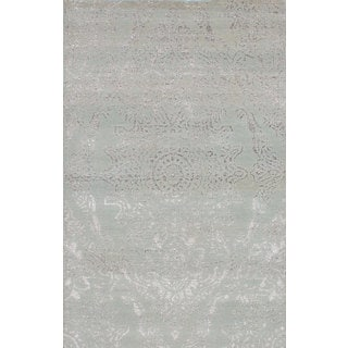 eCarpetGallery Hand-Knotted La Seda Green Wool and Art Silk Rug (5'0 x 7'11)