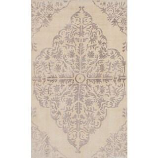 eCarpetGallery Hand-Knotted La Seda Ivory Wool and Art Silk Rug (4'10 x 8'0)