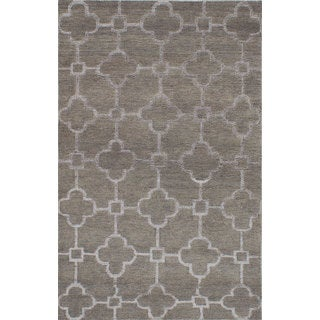 eCarpetGallery Dark Khaki/Light Grey Wool and Art Silk La Seda Hand-knotted Rug (4'11 x 7'9)