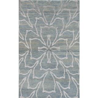 eCarpetGallery La Seda Blue/Grey Wool and Art Silk Hand-knotted Oriental Area Rug (4'10 x 7'10)