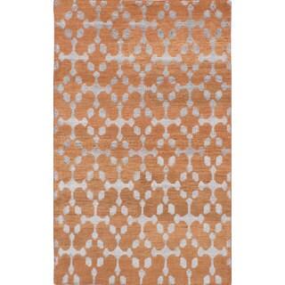eCarpetGallery La Seda Orange Wool and Art Silk Hand-knotted rug (4'10 x 7'10)