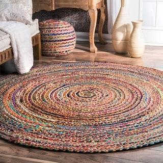 nuloom casual handmade braided cotton jute multi round rug 6u0027 x 6u0027 round