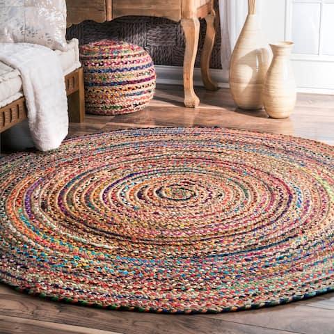 nuLOOM Boho Casual Handmade Braided Cotton Jute Area Rug