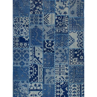 eCarpetGallery Deluxe Blue Wool and Cotton Hand-knotted Patch Area Rug (5'6 x 7'7)