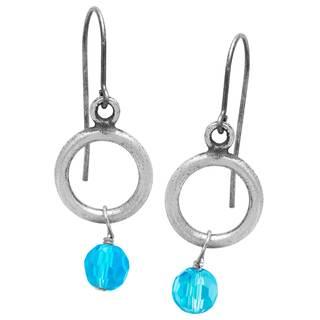 Women's Sterling Silver Aqua Glass Beads Earrings