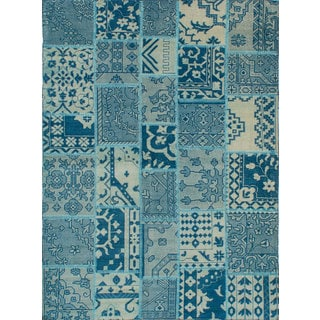 eCarpetGallery Deluxe Patch Blue Wool and Cotton Hand-knotted Area Rug (5'5 x 7'5)