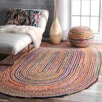 nuLOOM Casual Handmade Braided Cotton Jute Multi Round Rug (7' x 9' Oval)