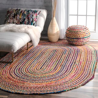 nuLOOM Casual Handmade Braided Cotton Jute Multi Round Rug (7' x 9' Oval)