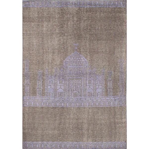 eCarpetGallery La Seda Green/Purple Wool and Art Silk Hand-knotted Oriental Area Rug (4'8 x 6'8) - 4'8 x 6'8