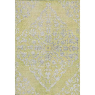 eCarpetGallery Hand-Knotted La Seda Green Wool and Art Silk Rug (4'5 x 6'7)