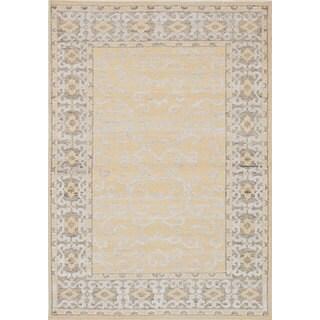 eCarpetGallery La Seda Yellow Wool & Art Silk Hand-knotted Rug (4'6 x 6'5)