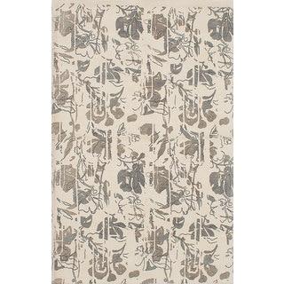 eCarpetGallery Hand-Made Mod Elegance Ivory Wool Rug (5'2 x 8'0)