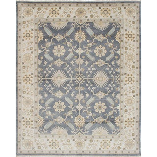 eCarpetGallery Hand-Knotted Royal Ushak Blue, Multicolored Wool Rug (8'1 x 10'0)