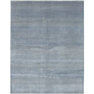 eCarpetGallery Bamboo-Shevra Grey/Blue Wool, Cotton and Viscose from Bamboo Hand-knotted Area Rug (7'10 x 9'11)