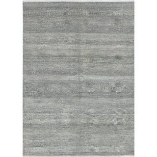 eCarpetGallery Bamboo-Shevra Grey Wool and Bamboo Silk Hand-knotted Area Rug (6' x 8'3)