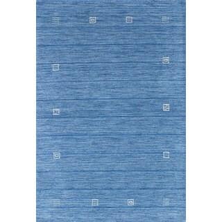 eCarpetGallery Luribaft Gabbeh Riz Blue Wool Hand-Knotted Rug (4'0 x 5'11)