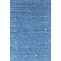 ECARPETGALLERY Luribaft Gabbeh Riz Blue Wool Hand-Knotted Rug