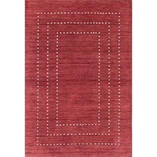 eCarpetGallery Luribaft Gabbeh Riz Red Wool Rug (4'0 x 5'11)