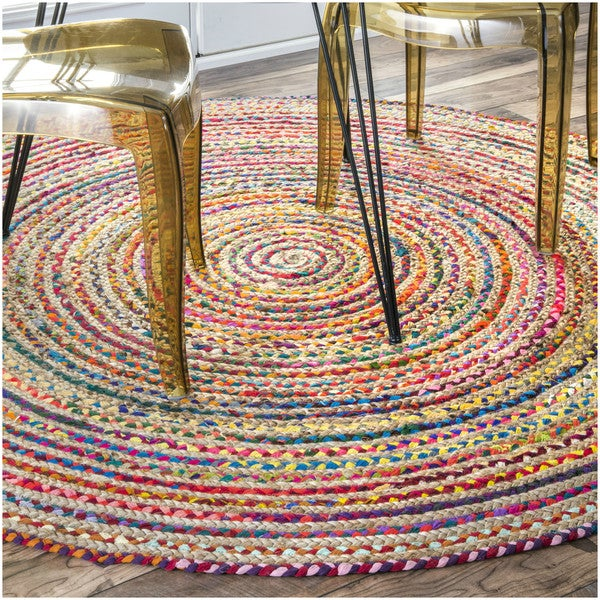 Nuloom Casual Handmade Braided Cotton Jute Multi Round Rug