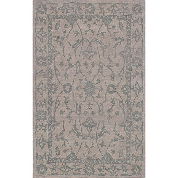 eCarpetGallery Elina Grey/Turquise Wool and Cotton Handmade Area Rug (5' x 8')
