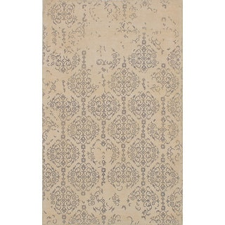 eCarpetGallery Elina Ivory/Grey Wool and Cotton Handmade Oriental Area Rug (5' x 8')