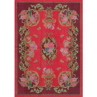 eCarpetGallery Enchanted Red Viscose Hand-Made Rug (5'4 x 7'8)