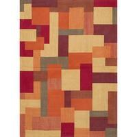eCarpetGallery Handmade Enchanted Red/Yellow Viscose Rug - 5'4 x 7'7