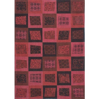 eCarpetGallery Hand Made Enchanted Pink/Red Viscose Rug (5'4 x 7'7)