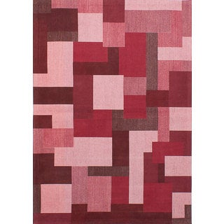 eCarpetGallery Enchanted Pink/Red Hand-Made Viscose Rug (5'2 x 7'5)
