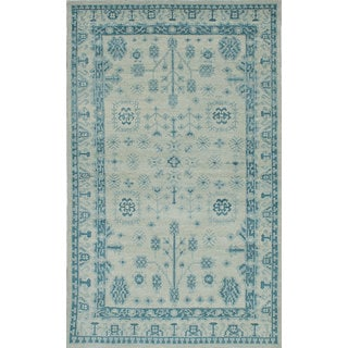 eCarpetGallery Hand-Knotted Eternity Blue/Yellow Wool Rug (4'10 x 8'1)