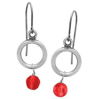 Sterling Silver Siam Glass Bead Dangle Earrings