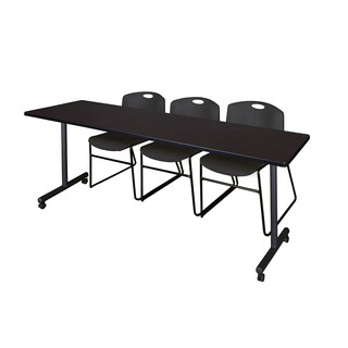 Kobe Black Metal and Wood 84-inch x 24-inch Mobile Training Table with 3 Black Zeng Stacking Chairs