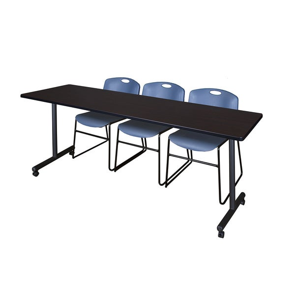 Kobe Mobile Training Table & 3 Zeng Blue Stack Chairs