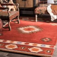 Pine Canopy Tongass Hand-tufted Southwestern Wool Wine Runner Rug - 2'6 x 12'