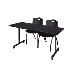 Kobe Mobile Black Training Table and 2 Stack Chairs