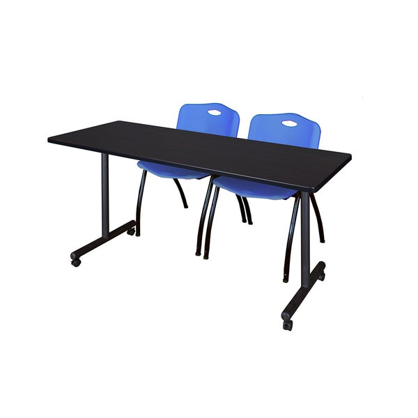 Kobe Blue Black Wood Laminate Metal Mobile Training Table with Two Stack  Chairs f156907dab3