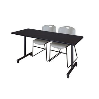 KobeBlack Metal and Wood 66-inch x 24-inch Mobile Training Table with 2 Grey Zeng-style Stacking Chairs