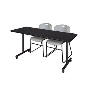 Kobe Grey/Black Wood/Laminate/Metal Mobile Training Table with 2 Zeng Stackable Chairs