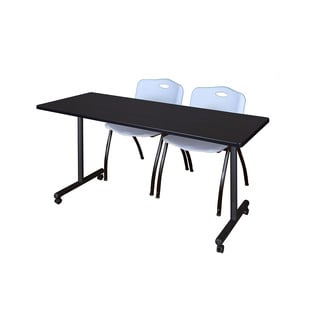 Regency Seating Kobe 66-inch Deep Mobile Training Table and 2 Grey Chairs