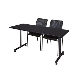 Regency Seating Kobe Black Laminate 66-inch Mobile Training Table and 2 Mario Stackable Chairs