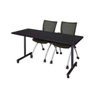 Kobe Black 72-inch x 24-inch Mobile Training Table with 2 Apprentice Chairs