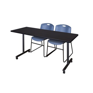 Kobe Black Wood and Metal 72-inch x 24-inch Mobile Training Table with 2 Blue Zeng-style Stacking Chairs