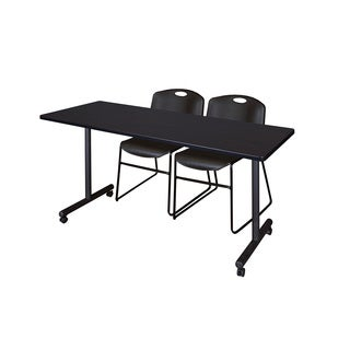 Kobe Black Wood/Laminate/Metal Mobile Training Table with 2 Zeng Stackable Chairs