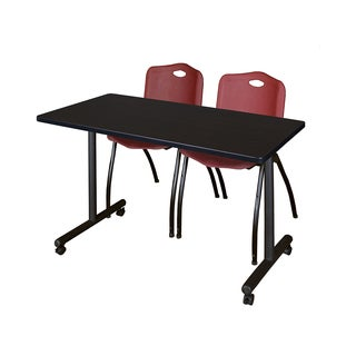 Regency Seating Kobe Burgundy Wood/Laminate/Metal 42-inch x 24-inch Mobile Training Table and 2 'M' Stack Chairs
