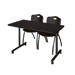 Kobe Black Metal and Wood 48-inch x 24-inch Mobile Training Table with 2 Black M-style Stacking Chairs