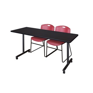 Regency Seating Kobe Black Laminated 60-inch Mobile Training Table and 2 Zeng Burgundy Stackable Chairs