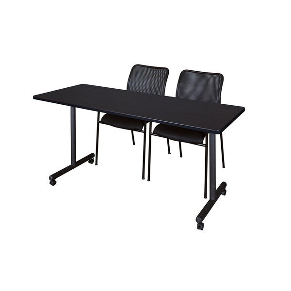 Kobe Black Wood and Metal 60-inch x 24-inch Mobile Training Table with 2 Black Mario-style Stacking Chairs