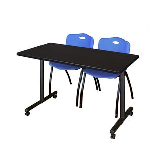 Kobe 42-inches Long x 24-inches Wide Mobile Training Table With 2 Blue 'M' Stack Chairs